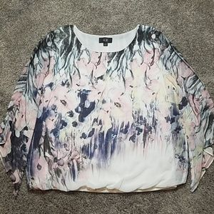 🔥 AGB Gathered Hem Sheer Sleeve Watercolor Top